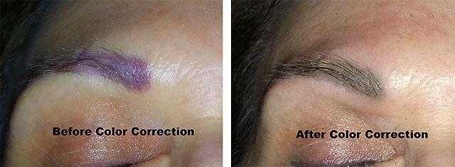 цветовая коррекция перманентного макияжа