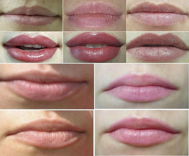 Фото до и после процедуры микроблейдинга губ