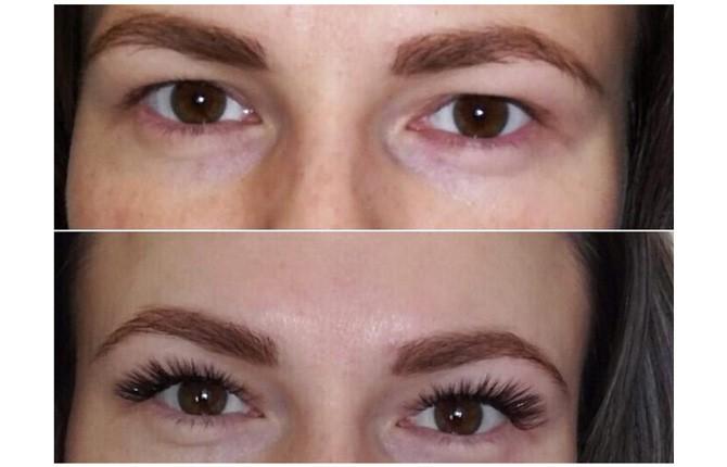 Фото до и после наращивания ресниц с изгибом М